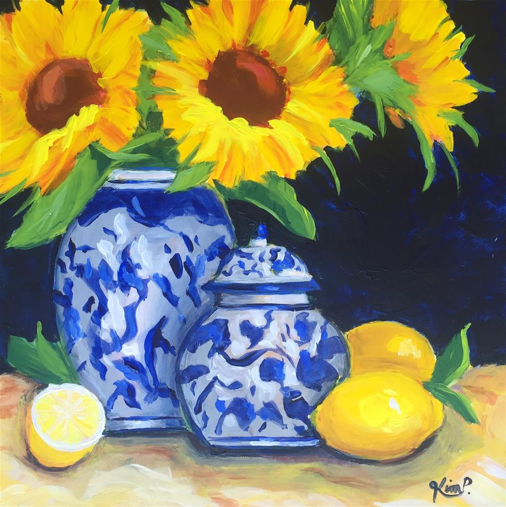 """Still Life with Sunflowers, Lemons and Blue and White Vase and  Ginger Jar"" original fine art by Kim Peterson"