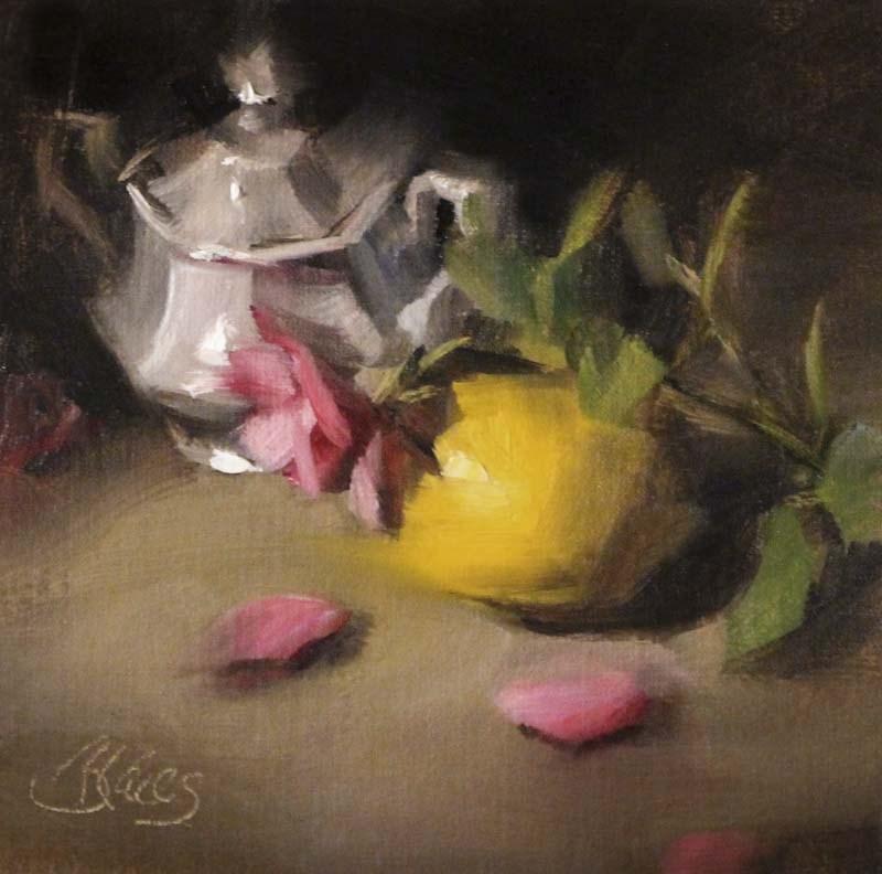 """Yesterday's Rose"" original fine art by Pamela Blaies"
