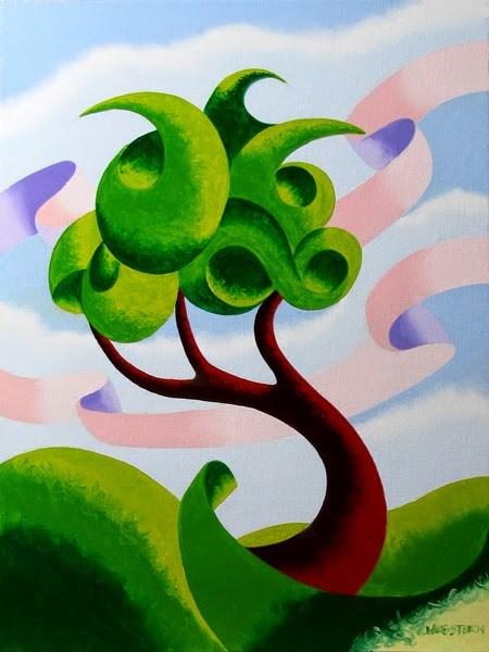"""Mark Adam Webster - Abstract Geometric  Landscape Oil Painting 4.3.14"" original fine art by Mark Webster"