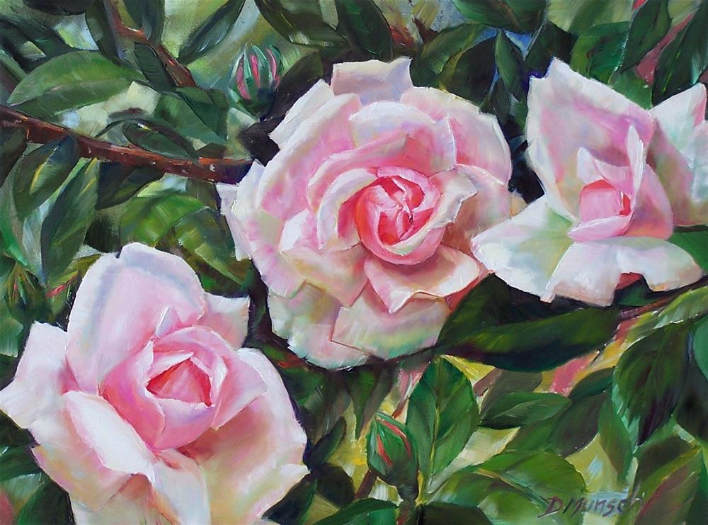 """Three Pinks"" original fine art by Donna Munsch"