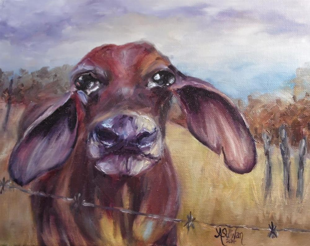 """Sweetie Pie cow painting by Alabama Artist Angela Sullivan"" original fine art by Angela Sullivan"