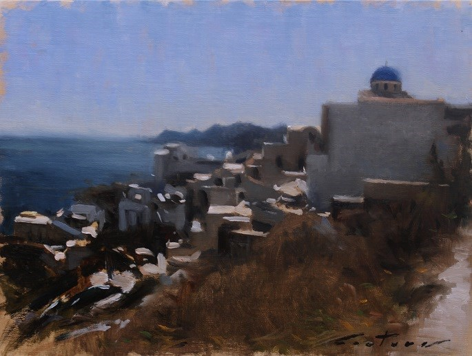 """Santorini"" original fine art by Phil Couture"