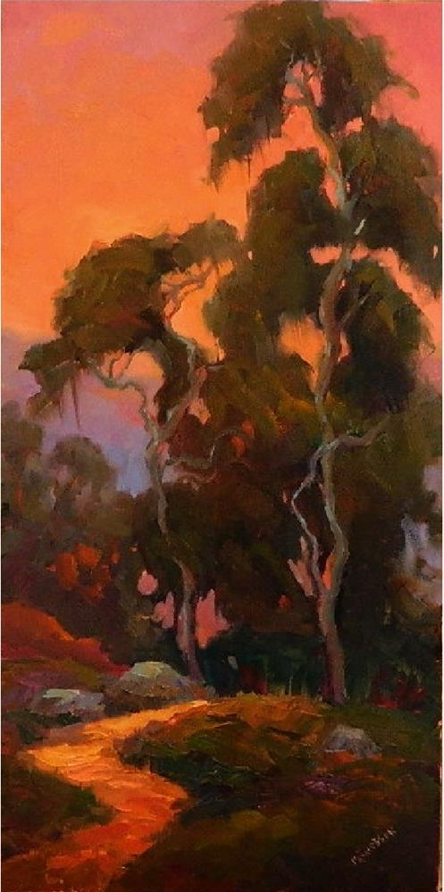 """Eventide, 12x24, oil on linen,  Eucalptus trees, cypress trees, California landscapes, MAryanne Ja"" original fine art by Maryanne Jacobsen"