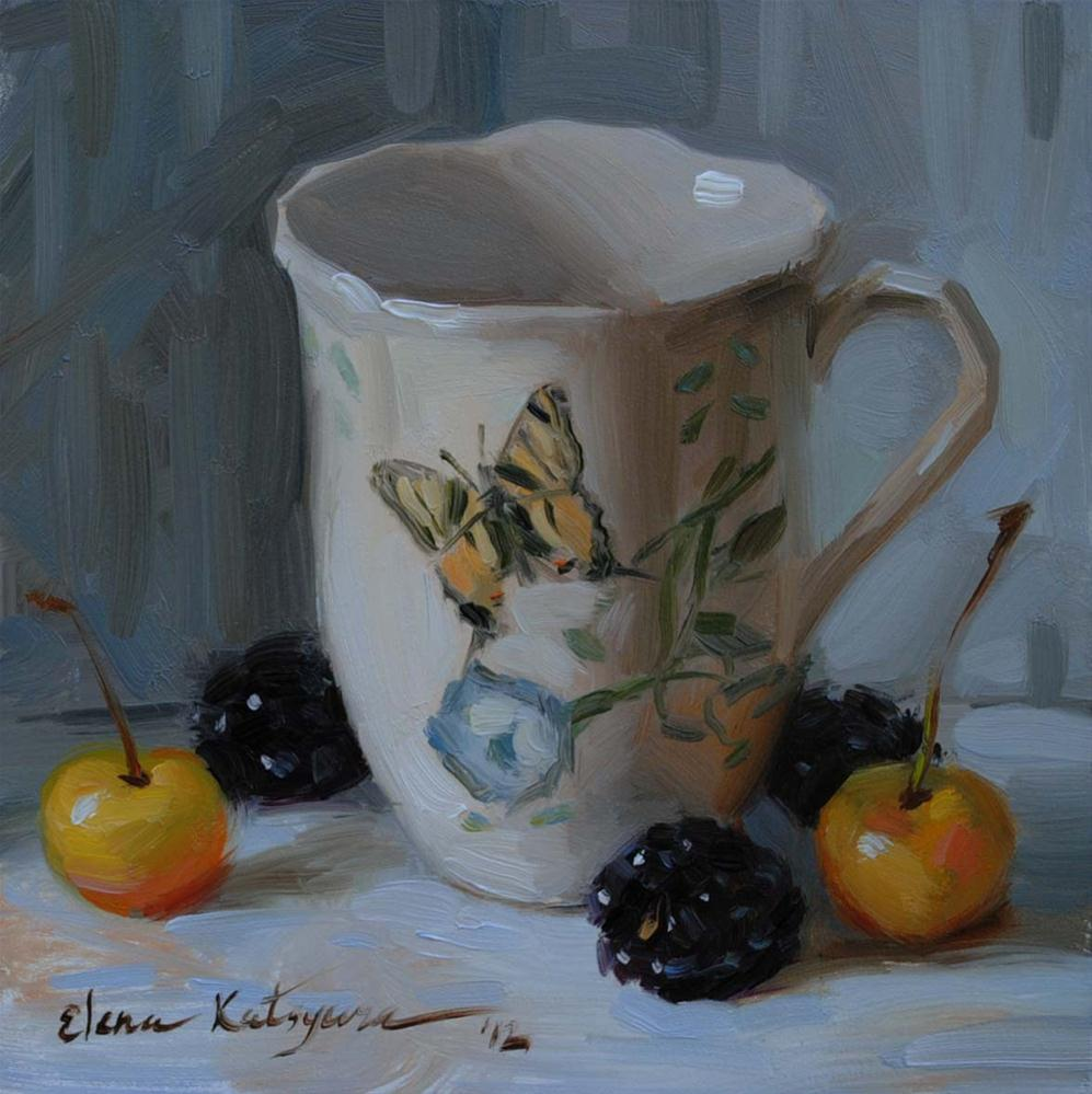 """Butterfly Teacup"" original fine art by Elena Katsyura"