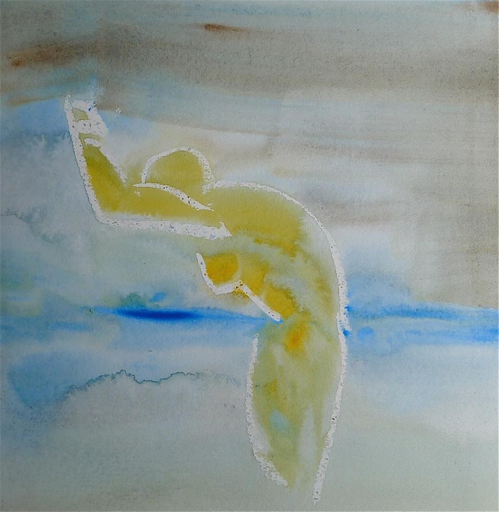 """Yellow swimmer"" original fine art by Ulrike Schmidt"