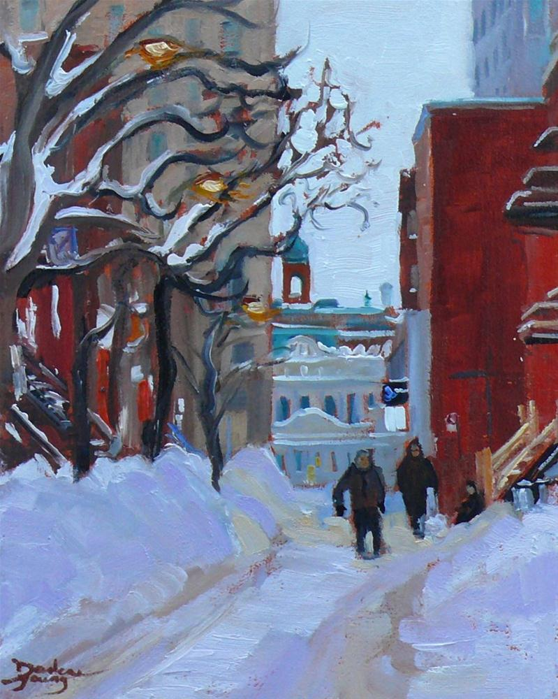 """597 Downtown Montreal Winter"" original fine art by Darlene Young"