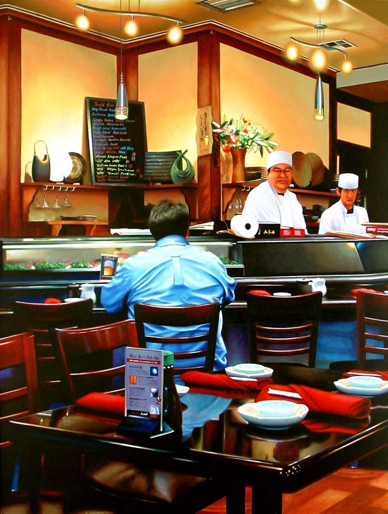 """Sushi Bar- Painting Of A Man In A Sushi Bar"" original fine art by Gerard Boersma"