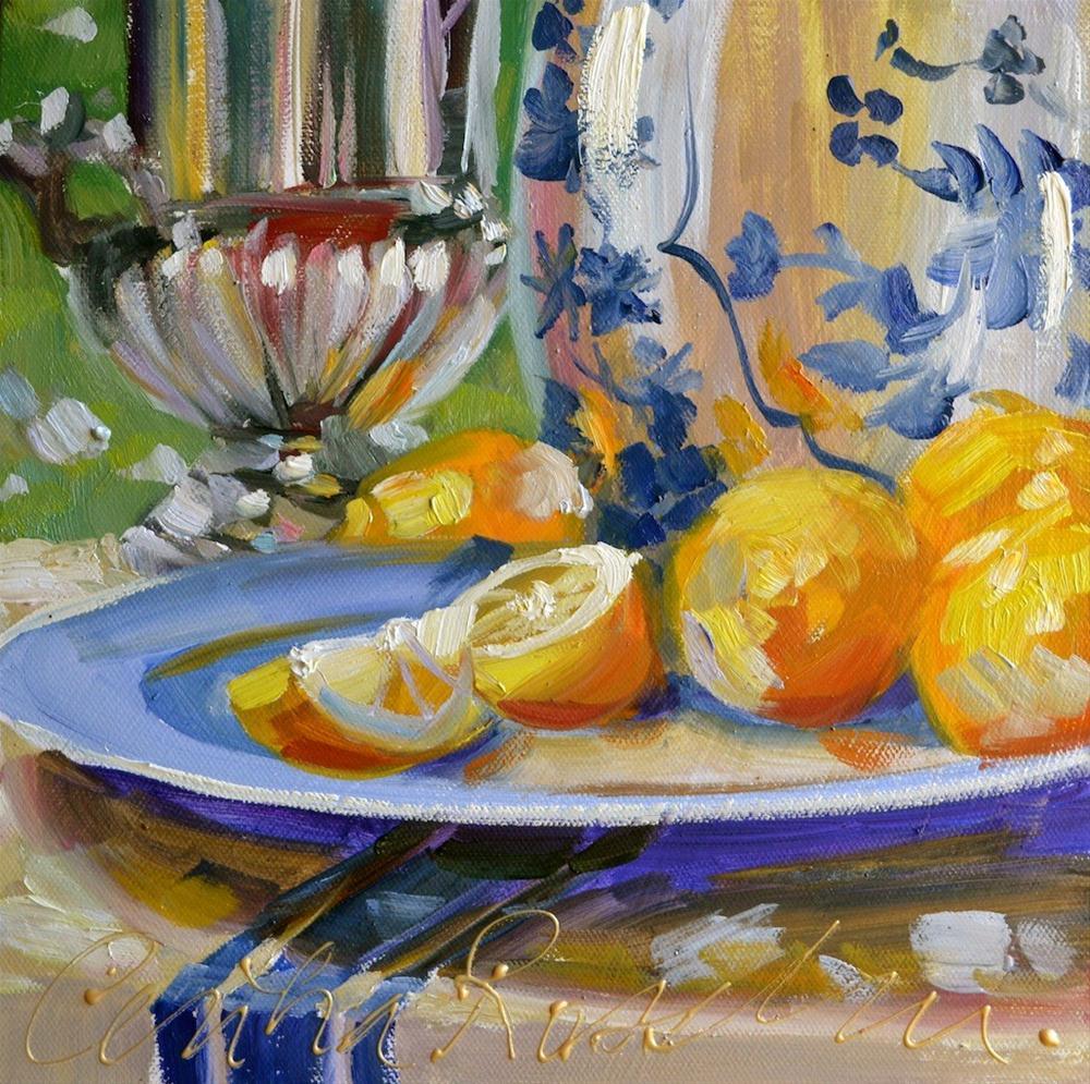 """""""Jaune et bleu"""" original fine art by Cecilia Rosslee"""