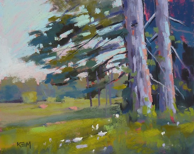 """Summer Meadow with Trees"" original fine art by Karen Margulis"