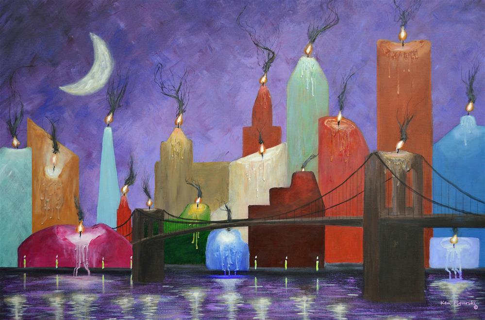 """Candleopolis"" original fine art by Ken Figurski"