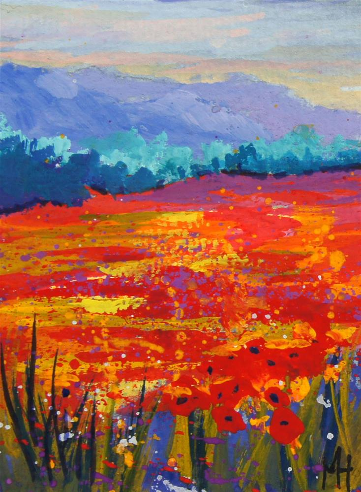 """""""ACEO art trading card Poppy Meadow 3"""" original fine art by Marion Hedger"""