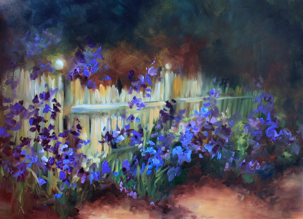 """Growing Wild, Blue Iris Garden - Painting Online With Nancy Medina"" original fine art by Nancy Medina"