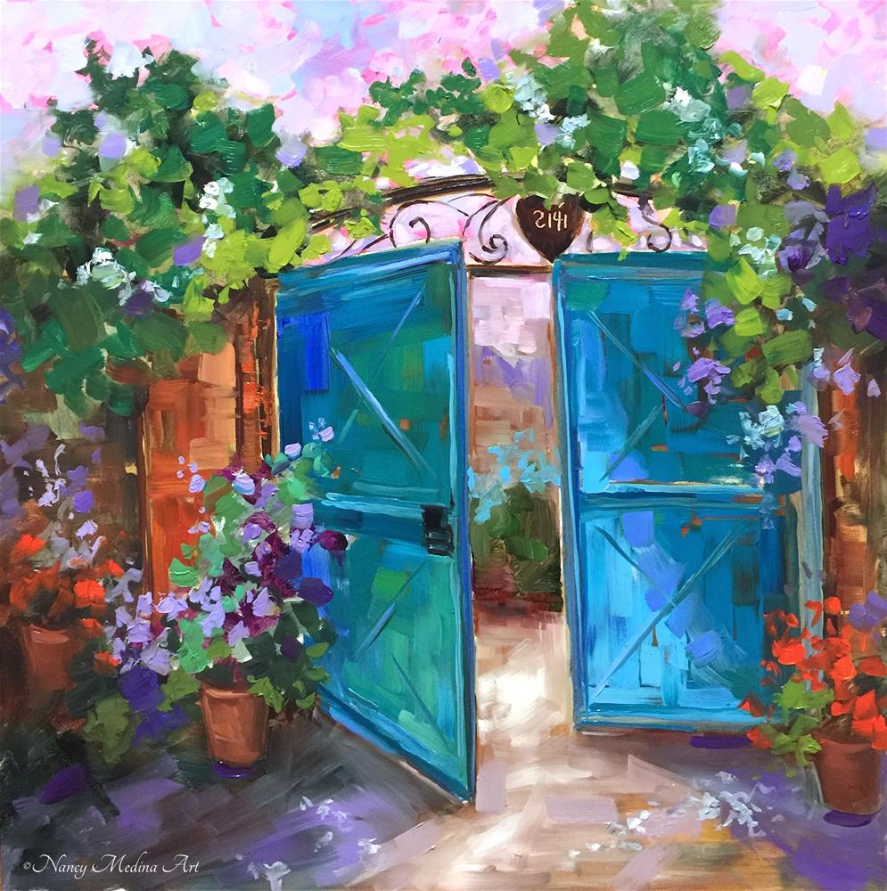 """A Free Lesson for You and Morning Vieux Blue Gates"" original fine art by Nancy Medina"