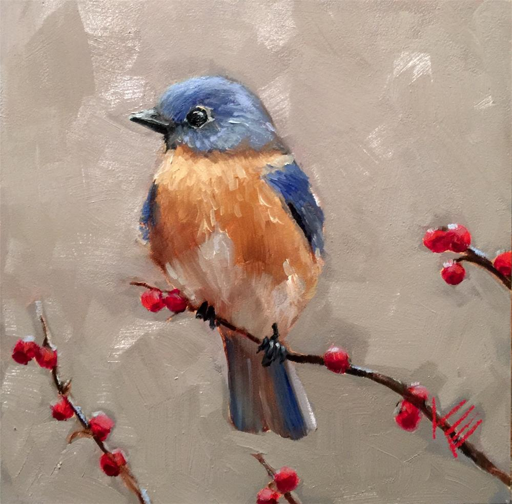 """Blue Bird in Early Winter"" original fine art by Krista Eaton"