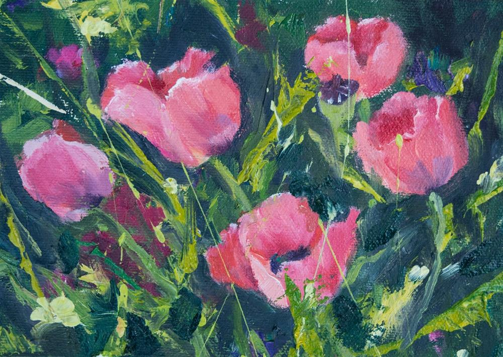 """KMD3071 Pink Poppies by Colorado Contemporary artist Kit Hevron Mahoney (5x7 oil pink poppy garden)"" original fine art by Kit Hevron Mahoney"