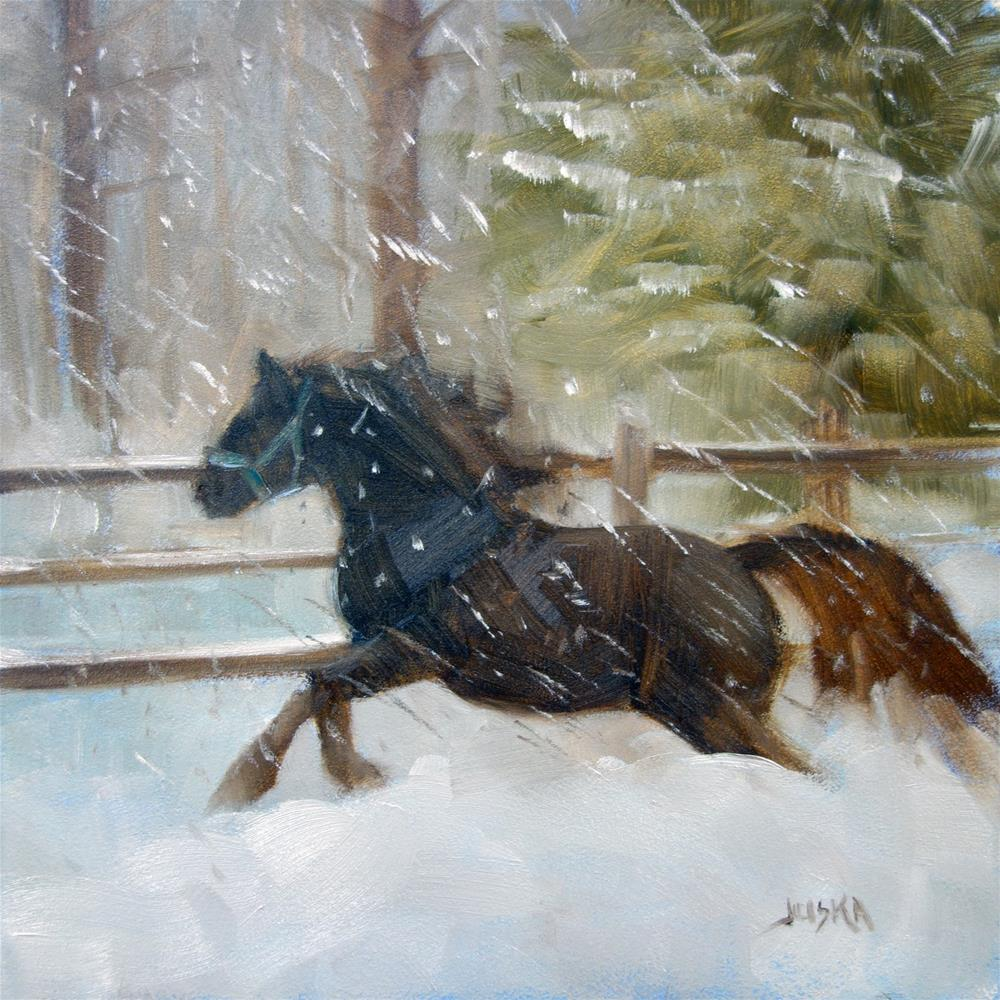 """Pony in the Snow"" original fine art by Elaine Juska Joseph"