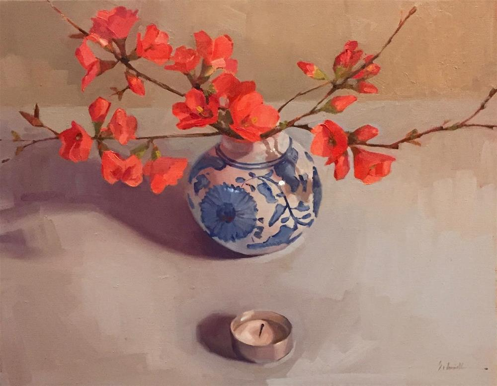 """A Painting of Flowering Quince"" original fine art by Sarah Sedwick"
