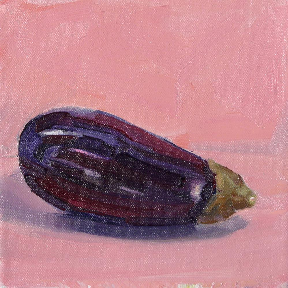 """Eggplant,still life,oil oncanvas,8x8,price$200"" original fine art by Joy Olney"