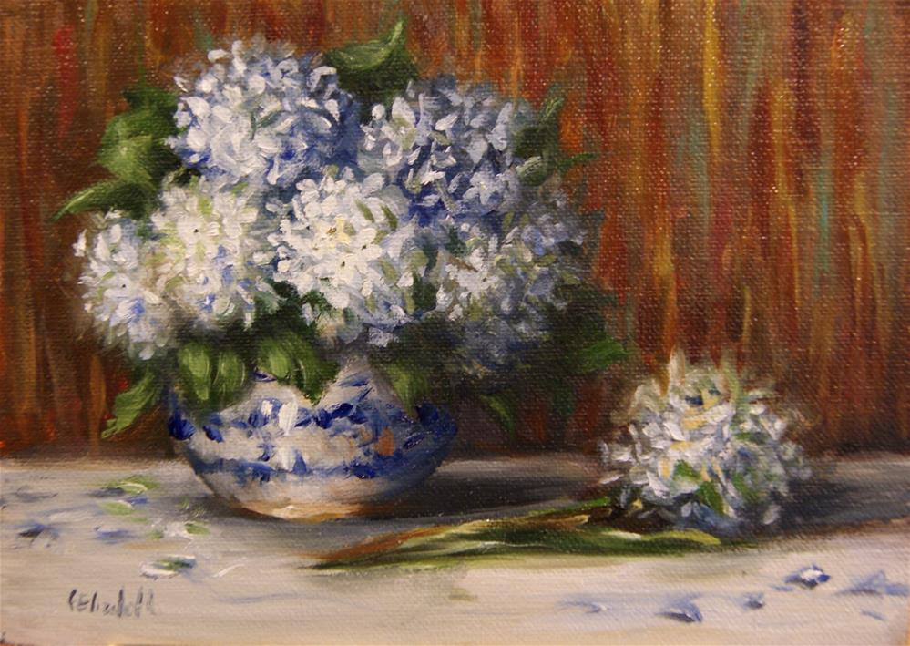 """Hydrangea in Blue and White Pottery,  Oil on 5x7 Linen Panel"" original fine art by Carolina Elizabeth"