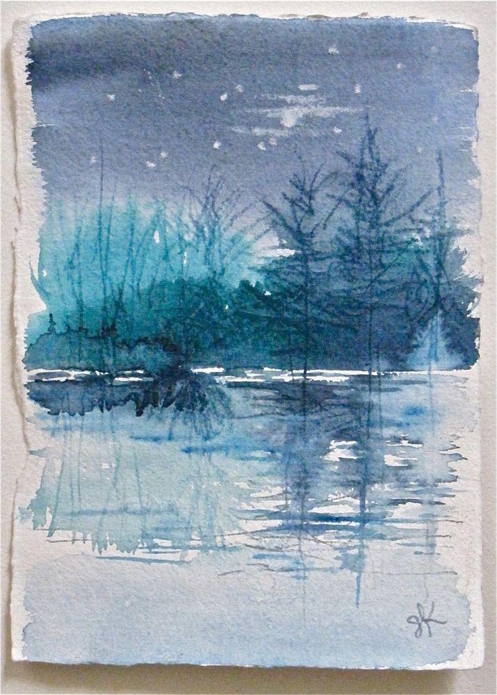 """""""Blue Dusk- miniature landscape by Gretchen Kelly"""" original fine art by Gretchen Kelly"""