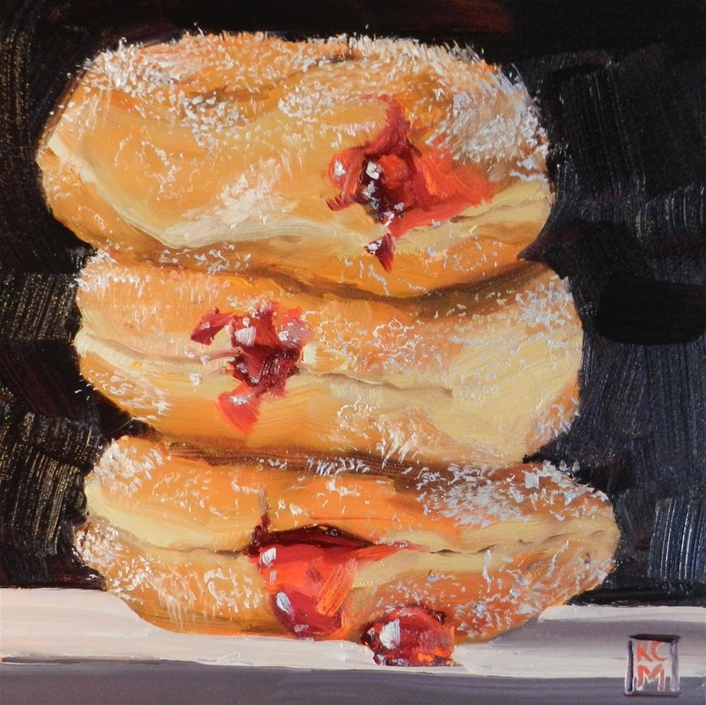 """Ooeey Gooey Stack of Jelly Donuts, 6x6 inch Oil Painting by Kelley Macdonald"" original fine art by Kelley MacDonald"