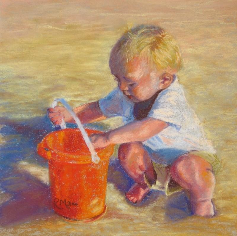 """The Red Bucket"" original fine art by Ruth Mann"