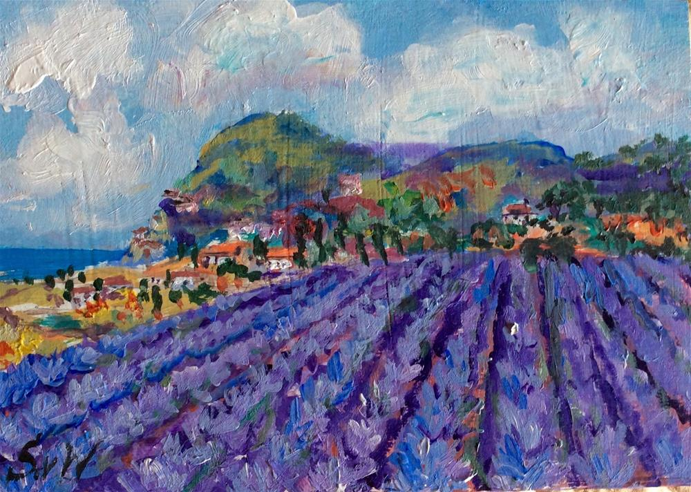 """Lavender field painting"" original fine art by Sonia von Walter"