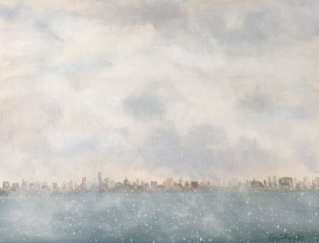 """Manhattan Snow Clouds"" original fine art by Maud Guilfoyle"