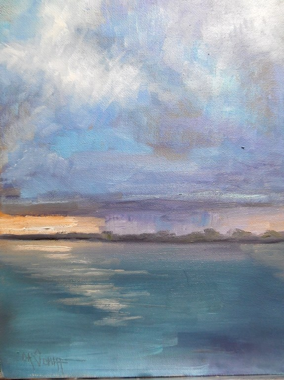 """Daily, Small Oil Painting, Daily art, Storm Painting, Coming my Way, 6x8 Oil Painting"" original fine art by Carol Schiff"