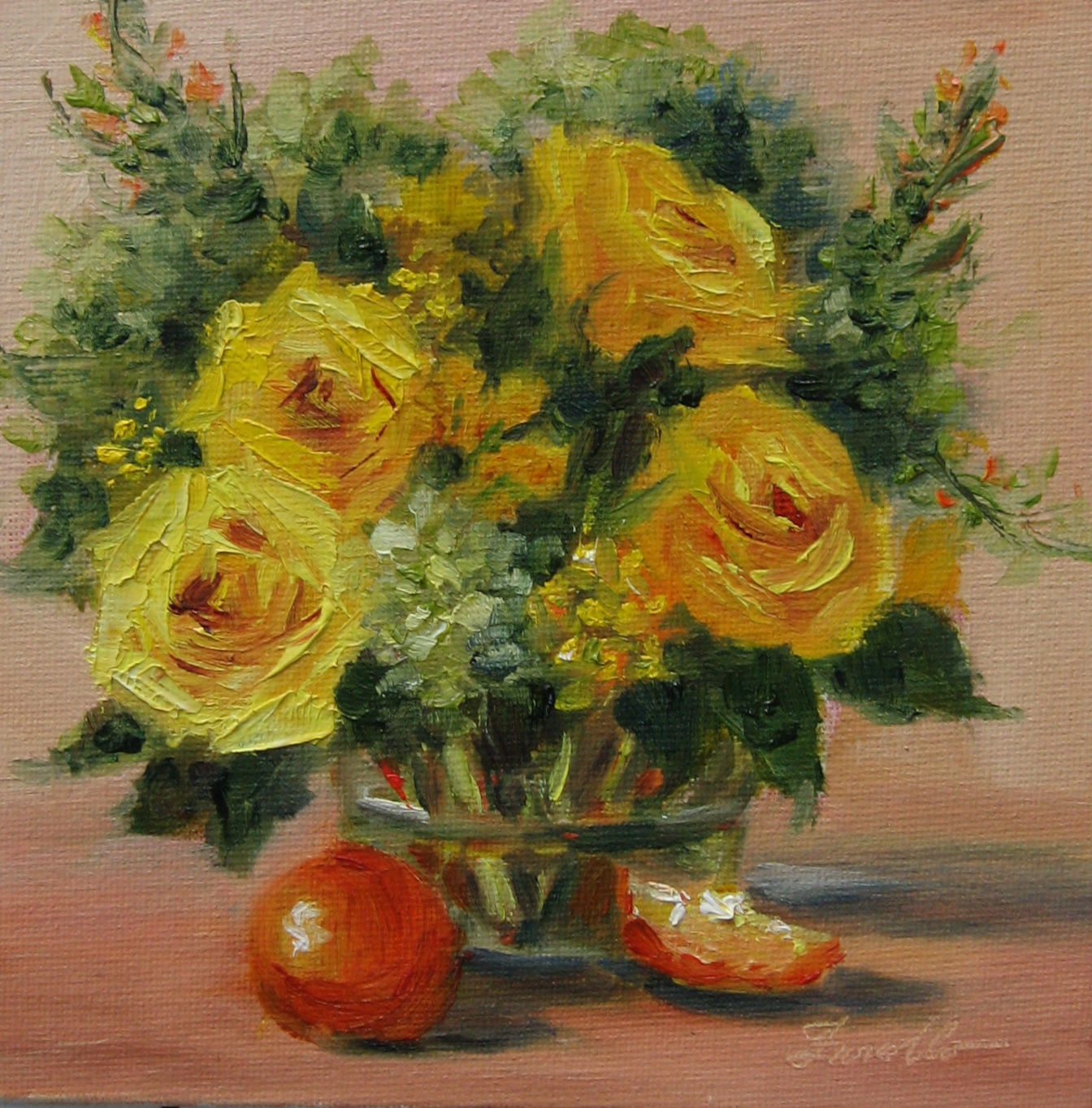 """Yellow rose & Oranges"" original fine art by Pat Fiorello"