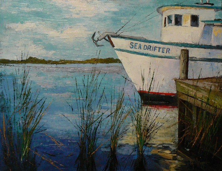 """Sea Drifter 16x20  Oil, Boat Painting, SOLD and Studio Sale"" original fine art by Carol Schiff"