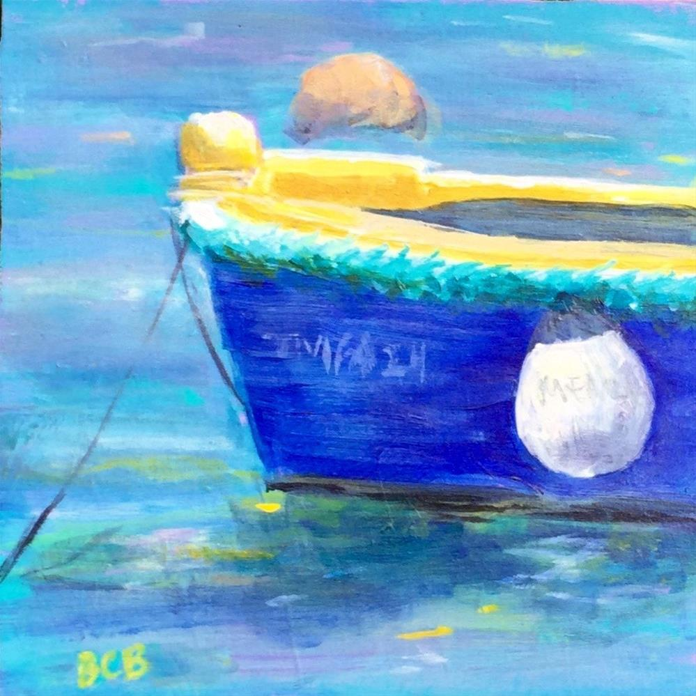 """6 x 6 Malta boat study"" original fine art by Beth Carrington Brown"