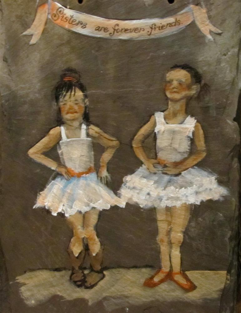 """Day 19 Slate - Sisters"" original fine art by Christine Holzschuh"