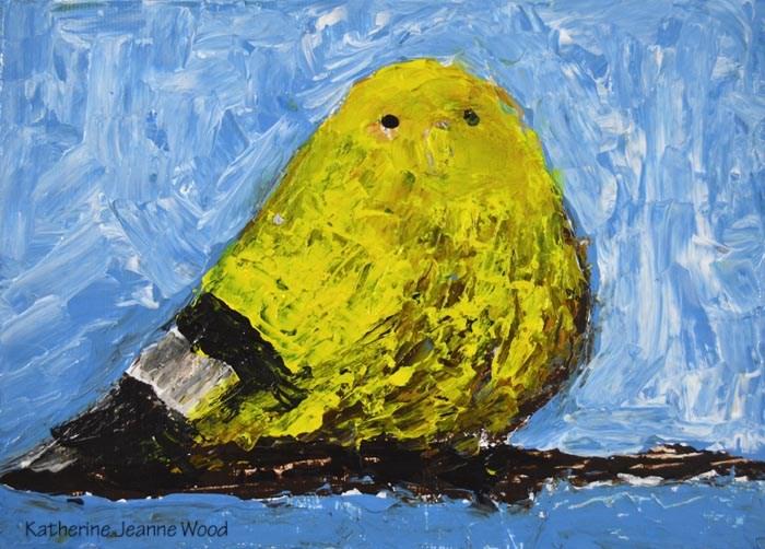 """Yellow goldfinch bird painting No 26"" original fine art by Katie Jeanne Wood"