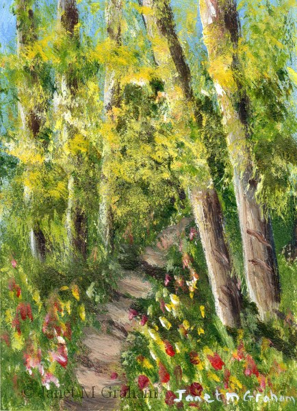 """""""Woodland Trail ACEO"""" original fine art by Janet Graham"""