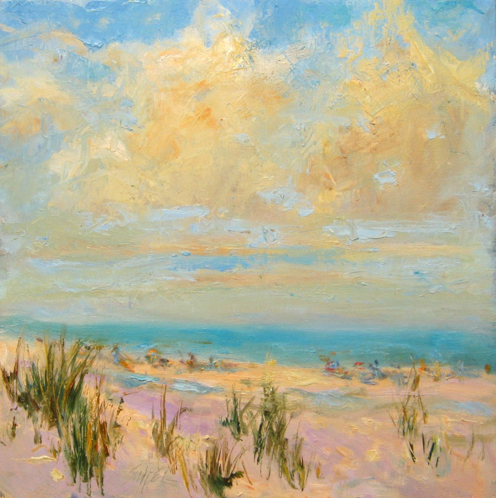 """Clouds Over the Beach"" original fine art by Connie Snipes"