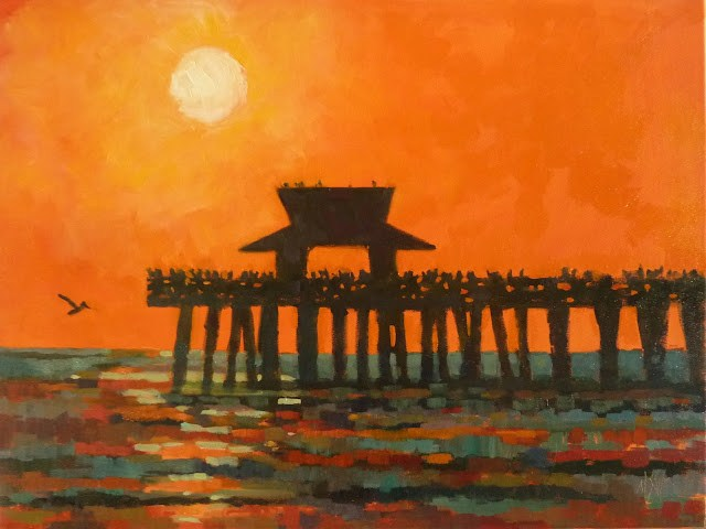 """Naples Pier Sunset 18x24 on stretched canvas Framed"" original fine art by Mary Sheehan Winn"