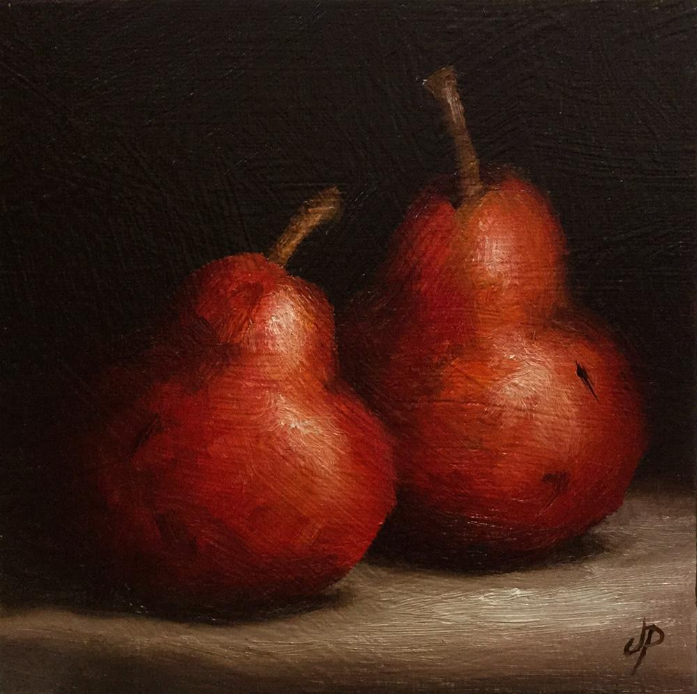 """Red Bartlett Pears"" original fine art by Jane Palmer"