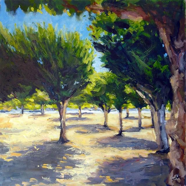 """Concourse Trees (update)"" original fine art by J. Farnsworth"