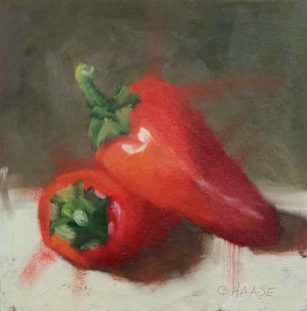 """Chile Peppers"" original fine art by Cindy Haase"