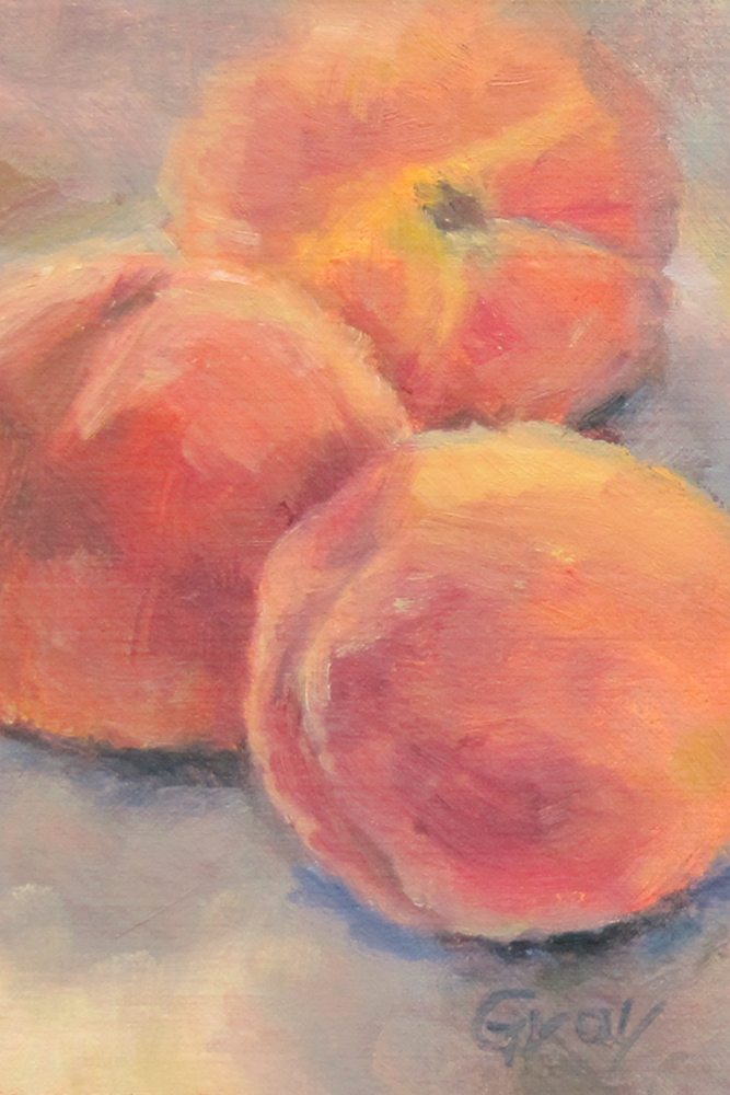 """Three Peaches"" original fine art by Naomi Gray"