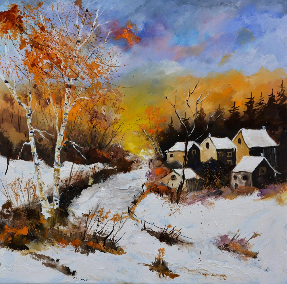"""Sunny winter afternoon"" original fine art by Pol Ledent"
