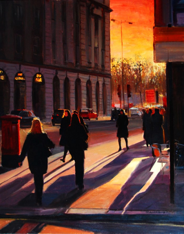 """The last Evening light, London Streets"" original fine art by Adebanji Alade"
