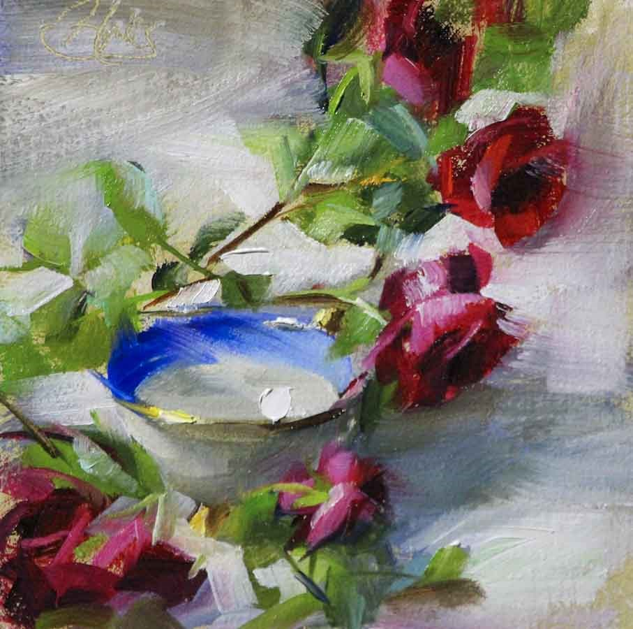 """Climbing Roses and a Teacup"" original fine art by Pamela Blaies"
