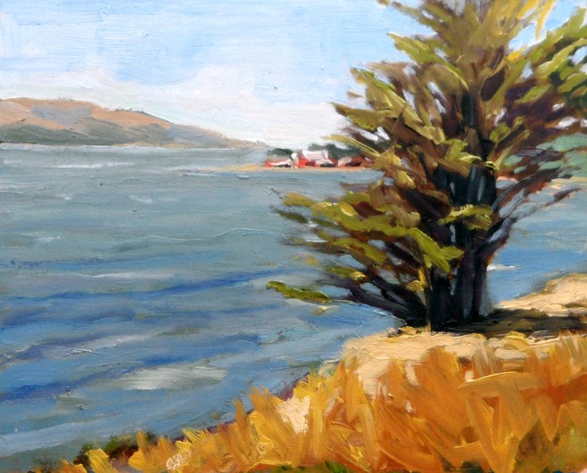 """View of Hog Island"" original fine art by Deborah Newman"