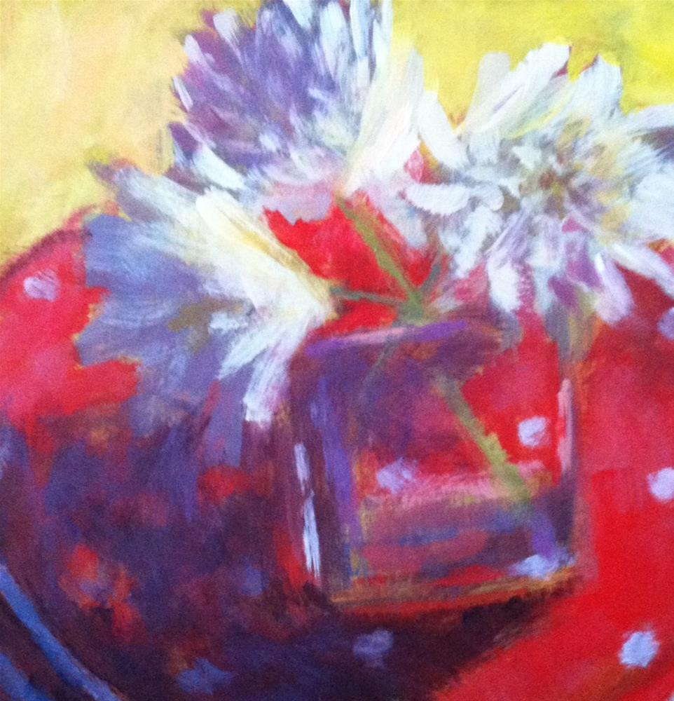 """White Chrysanthemums Red"" original fine art by Katharine March"