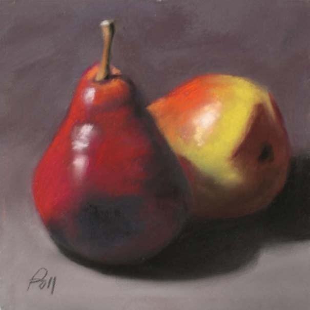 """Pear Duo"" original fine art by Pamela Poll"