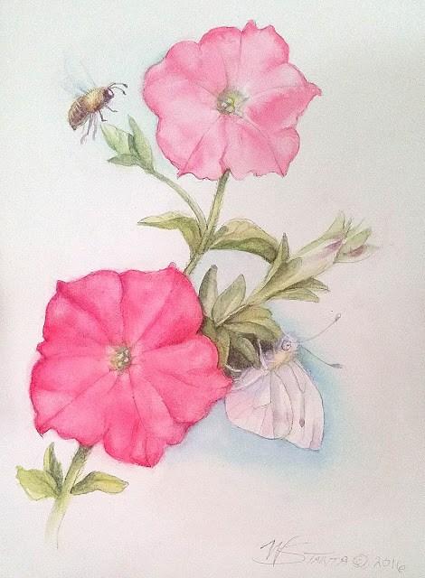 """""""Summer Petunias"""" original fine art by Wendy Starita"""