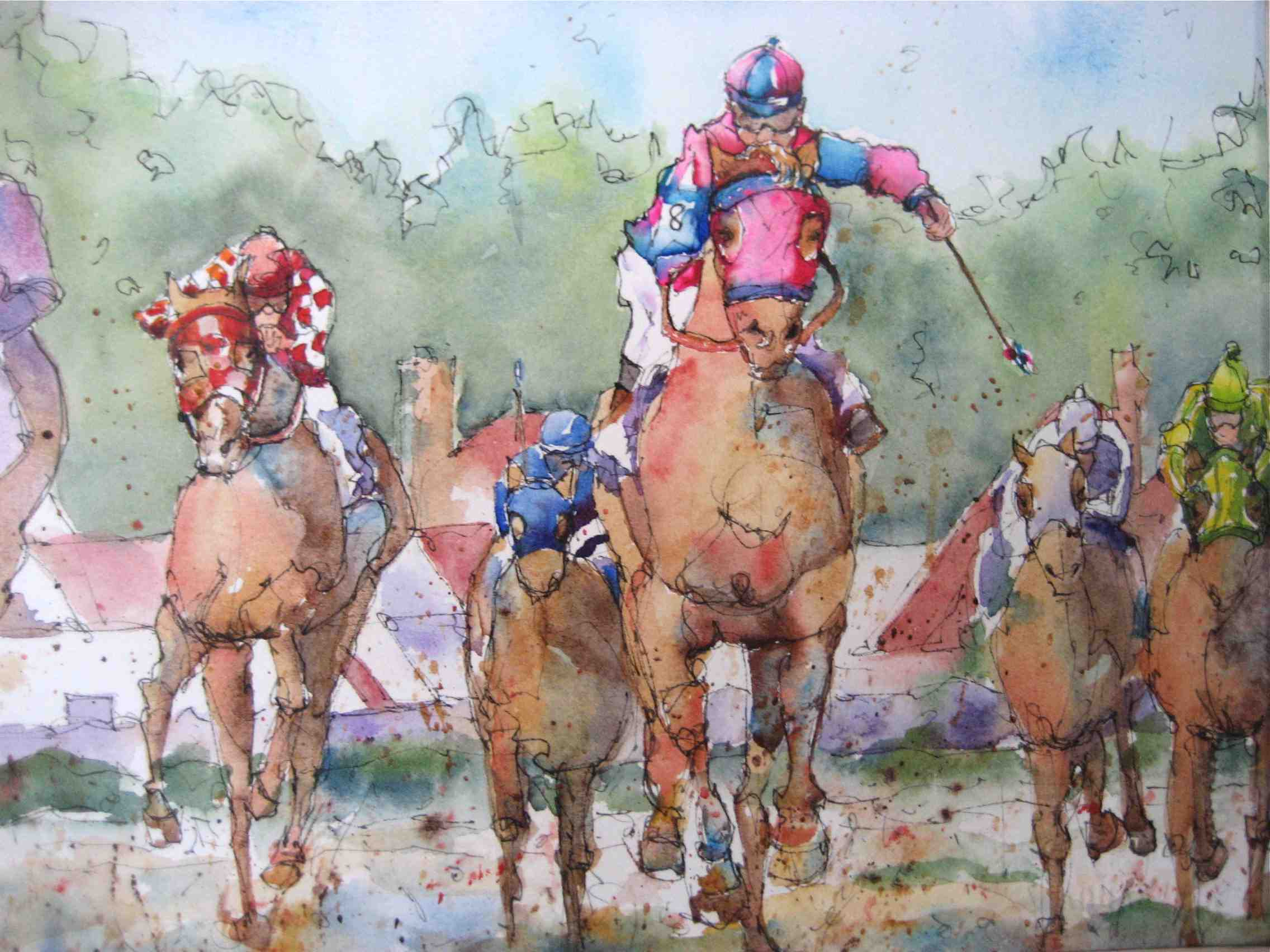 """""""Zebaydo takes the lead"""" original fine art by Nora MacPhail"""