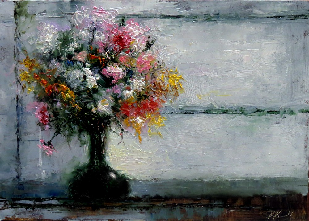"""Flowers by the Window"" original fine art by Bob Kimball"
